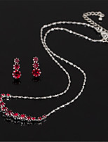 cheap -Women's White AAA Cubic Zirconia Stud Earrings Choker Necklace Bridal Jewelry Sets Tennis Chain Mini Stylish Luxury Earrings Jewelry Red / Silver For Wedding Party Engagement 1 set