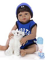 cheap -KEIUMI 22 inch Black Dolls Reborn Doll Baby & Toddler Toy Reborn Toddler Doll Baby Boy Gift Cute Washable Lovely Parent-Child Interaction Full Body Silicone 23D80-C211-T19 with Clothes and Accessories