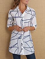 cheap -Women's Blouse Abstract Tops - Print Shirt Collar Basic Daily Spring Fall White Blue Yellow S M L XL 2XL 3XL