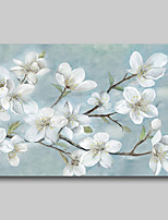 cheap -Oil Painting Hand Painted - Abstract Abstract Landscape Comtemporary Modern Rolled Canvas White Blossoms
