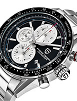 cheap -PAGANI Men's Sport Watch Quartz Modern Style Sporty Stainless Steel Leather Black / Silver Water Resistant / Waterproof Calendar / date / day Noctilucent Analog Casual Outdoor - Black Silver