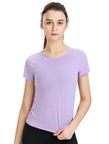 cheap -Women's T shirt Tee / T-shirt White Navel Crew Neck Solid Color Cute Sport Athleisure T Shirt Short Sleeves Breathable Quick Dry Comfortable Yoga Exercise & Fitness Running Everyday Use Exercising