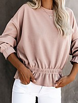 cheap -Women's Blouse Solid Colored Round Neck Tops Summer White Blushing Pink