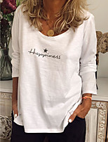 cheap -Women's Blouse Letter Round Neck Tops Fall White Red