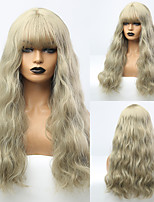 cheap -Synthetic Wig Curly Body Wave Neat Bang Wig Long Light Blonde Synthetic Hair 25 inch Women's Fashionable Design Cute Women Blonde