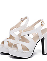 cheap -Women's Sandals Spring / Summer Pumps Open Toe Sexy Sweet Preppy Daily Party & Evening Buckle Solid Colored PU White / Black