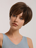 cheap -Synthetic Wig Bangs Natural Straight Pixie Cut Side Part Neat Bang Wig Short Light Blonde Brown Synthetic Hair 10 inch Women's Cosplay Women Synthetic Blonde Brown BLONDE UNICORN