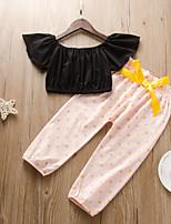 cheap -Kids Toddler Girls' Basic Chinoiserie Daily Wear Festival Black Polka Dot Solid Colored Bow Sleeveless Regular Regular Clothing Set Black
