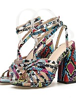 cheap -Women's Sandals Summer Block Heel Open Toe Daily Snakeskin Solid Colored PU Red / Blue