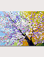 cheap -Peach Blossoms Bloom Modern Abstract Purple White Flowers Oil Paintings on Canvas Wall Art 100% Hand Painted Floral Artwork for Living Room Bedroom Home Office Decorations Wall Decor Rolled Without Fr