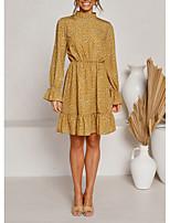 cheap -Women's A-Line Dress Knee Length Dress - Long Sleeve Floral Print Summer Elegant Daily 2020 Yellow S M L XL