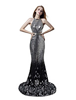 cheap -Mermaid / Trumpet Sexy Sparkle Engagement Formal Evening Dress Halter Neck Sleeveless Court Train Sequined with Sequin 2020