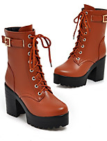 cheap -Women's Boots Cuban Heel Round Toe Casual Basic Daily Lace-up Solid Colored PU Mid-Calf Boots Walking Shoes White / Black / Brown