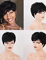 cheap -Remy Human Hair Wig Short Straight Natural Straight Bob Pixie Cut Layered Haircut Asymmetrical Brown Women Fashion Natural Hairline Capless Women's All Natural Black #1B Dark Wine Medium Brown#4 8