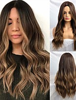 cheap -Synthetic Wig Natural Wave Middle Part Wig Long Ombre Brown Synthetic Hair 24 inch Women's Party Fashion Ombre Hair Brown