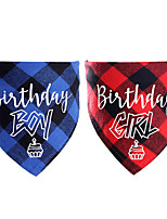 cheap -Dog Cat Bandanas & Hats Dog Bandana Dog Bibs Scarf Plaid / Check Letter & Number Party Cute Christmas Party Dog Clothes Adjustable Costume Cotton S / Birthday / Birthday