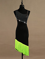 cheap -Latin Dance Dress Tassel Split Joint Crystals / Rhinestones Women's Performance Sleeveless Natural Spandex