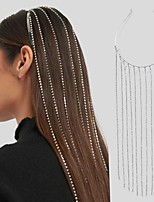 cheap -Women's Hair Jewelry For Wedding Party Evening Formal Promise Head Tassel Cubic Zirconia Rhinestone Silver 1pc