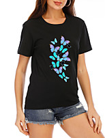 cheap -Women's T-shirt Graphic Prints Tops Round Neck 100% Cotton Basic Daily Summer Black XS S M L XL 2XL