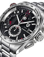 cheap -PAGANI Men's Sport Watch Quartz Modern Style Sporty Stainless Steel Leather Water Resistant / Waterproof Calendar / date / day Analog Casual Outdoor - Black / Silver White+Silver White