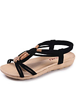 cheap -Women's Sandals Roman Shoes / Gladiator Sandals Summer Flat Heel Open Toe Daily PU Light Brown / Black / Beige
