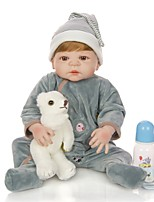 cheap -KEIUMI 22 inch Reborn Doll Baby & Toddler Toy Reborn Toddler Doll Baby Boy Gift Cute Lovely Parent-Child Interaction Tipped and Sealed Nails Full Body Silicone 23D54-C228-T19 with Clothes and