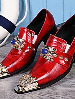 cheap -Men's Dress Shoes Summer Daily Party & Evening Loafers & Slip-Ons Cowhide Handmade Red