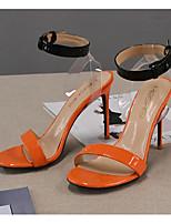 cheap -Women's Sandals Summer Stiletto Heel Round Toe Daily Color Block PU Orange