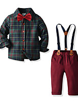 cheap -Kids Toddler Boys' Basic Street chic Birthday Party Party & Evening Plaid Long Sleeve Regular Regular Clothing Set Army Green