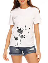 cheap -Women's T-shirt Butterfly Graphic Prints Round Neck Tops Slim 100% Cotton Basic Top White