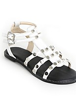 cheap -Women's Sandals Summer Flat Heel Round Toe Daily PU White / Black