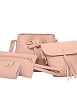 cheap -Women's Zipper PU Leather Bag Set Bag Sets Solid Color Black / Blushing Pink / Brown