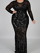 cheap -Mermaid / Trumpet Elegant Plus Size Wedding Guest Formal Evening Dress Jewel Neck Long Sleeve Floor Length Lace Tulle with Lace Insert 2020