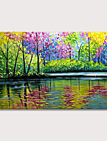 cheap -100% Hand Painted Oil Paintings  Abstract Landscape Modern Canvas Wall Art Knife Painting  Park Green Forest Reflection Artwork Home Decorations for Living Room Bedroom Dining Room Wall Decor Rolled W