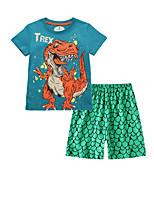 cheap -Kids Boys' Basic Cartoon Short Sleeve Clothing Set Green