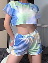 cheap -Women's T shirt Tie Dye Shirt Tee / T-shirt Sports Shorts Sweatshorts Tie Dye Navel Jewel Neck Color Block Cute Sport Athleisure Shorts T Shirt Short Sleeves Breathable Quick Dry Soft Comfortable
