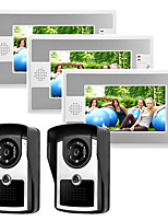 cheap -Wired 7 Inch Hands-free 800*480 Pixel Two To Three Video Doorphone Intercom System With Infrared Night Vision Camera
