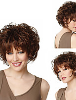 cheap -Synthetic Wig Curly Bob Neat Bang Wig Short Dark Brown Synthetic Hair 10 inch Women's Party New Arrival Comfortable Dark Brown