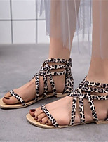 cheap -Women's Sandals Roman Shoes / Gladiator Sandals Summer Flat Heel Open Toe Daily Leopard PU Leopard