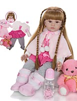 cheap -KEIUMI 24 inch Reborn Doll Baby & Toddler Toy Reborn Toddler Doll Baby Girl Gift Cute Lovely Parent-Child Interaction Tipped and Sealed Nails Half Silicone and Cloth Body 24D13-C132-S14-T14 with