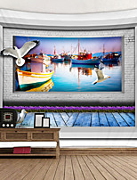 cheap -Dock fishing Boat Background Digital Printed Tapestry Decor Wall Art Tablecloths Bedspread Picnic Blanket Beach Throw Tapestries Colorful Bedroom Hall Dorm Living Room Hanging
