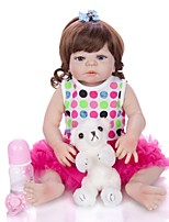 cheap -KEIUMI 22 inch Reborn Doll Baby & Toddler Toy Reborn Toddler Doll Baby Girl Gift Cute Washable Lovely Parent-Child Interaction Full Body Silicone 23D09-C46-H99-T19 with Clothes and Accessories for
