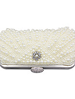 cheap -Women's Bags Polyester Evening Bag Pearls / Crystals for Event / Party White / Wedding Bags
