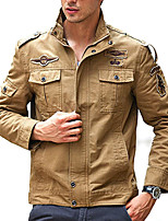 cheap -Men's Hiking Jacket Outdoor Multi-Pocket Jacket Cotton Hunting Climbing Camping / Hiking / Caving Black / Army Green / Khaki