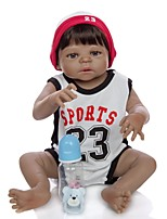 cheap -KEIUMI 22 inch Black Dolls Reborn Doll Baby & Toddler Toy Reborn Toddler Doll Baby Boy Gift Cute Washable Lovely Parent-Child Interaction Full Body Silicone KUM23FS01-BW20 with Clothes and Accessories
