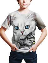 cheap -Kids Toddler Boys' Active Street chic Cat 3D Animal Print Short Sleeve Tee Light gray