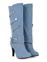cheap -Women's Boots Stiletto Heel Round Toe Casual Basic Daily Solid Colored Cotton Mid-Calf Boots Walking Shoes Black / Blue / Light Blue