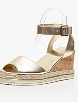 cheap -Women's Sandals Summer Fall Wedge Heel Open Toe Casual Daily Home Buckle Faux Leather White / Black / Gold