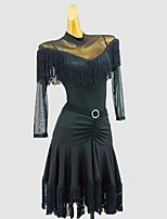 cheap -Latin Dance Dress Sash / Ribbon Tassel Solid Girls' Training Daily Wear 3/4 Length Sleeve Cotton