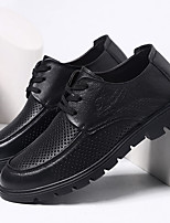 cheap -Men's Spring / Fall Vintage Daily Oxfords Walking Shoes Cowhide Wear Proof Black / Brown